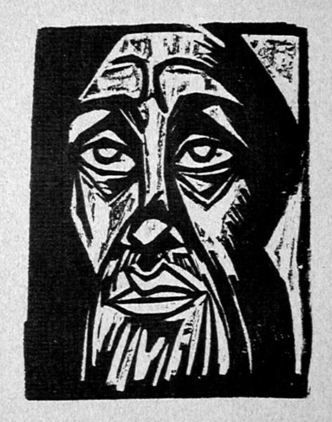 Herman Max Pechstein (German, 1881-1955), Kopf / Head (Fechter 149). Original woodcut, 1920. Edition: c. 1000 impressions (of which this is a very rich one) published in Fritz Gurlitt's Almanach 1920, an annual of German Expressionist art published from 1919 to 1921. A masterpiece of German Expressionist printmaking. Image size: 104x81mm Price: $1750.