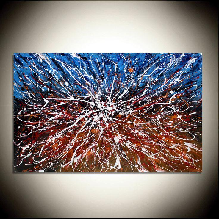 Pintura al óleo rojo grandes obras de arte moderno en la lona