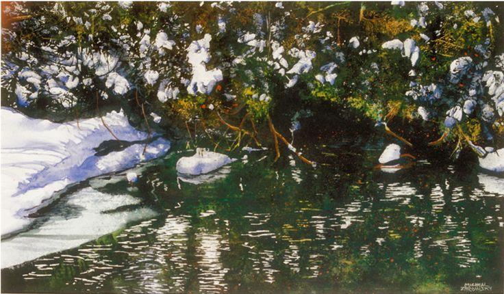 """open cedar stream eramosa river (29) 22"""" x 32""""  micheal zarowsky / watercolour on arches paper (private collection)"""