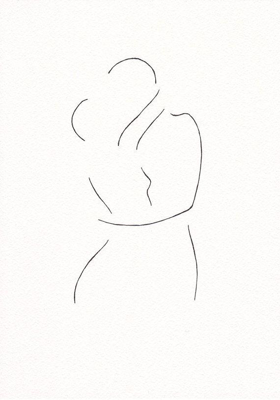 Minimalistische kus tekening. Oorspronkelijke lijn kunst door siret