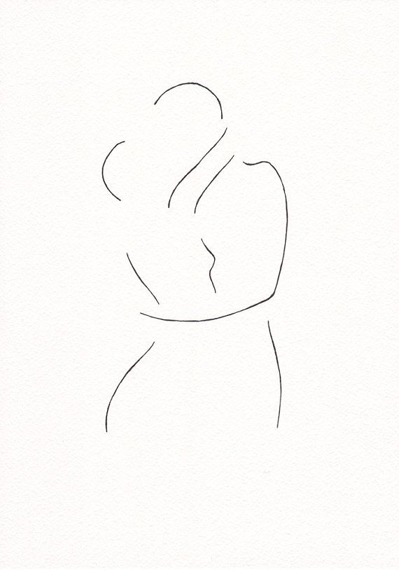Minimalist kiss drawing. Original line art illustration. by siret