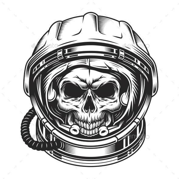Vintage Scary Skull In Space Helmet Vintage Skull Space Costumes Minimalist Logo Design