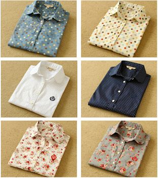 Ladies shirts of new fund of 2014 autumn winters, collar, long sleeves, dot, color printing, OL woman pure cotton shirt