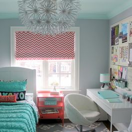 Coral, Teal, Gray Bedroom Design Ideas, Pictures, Remodel, and Decor - page 11