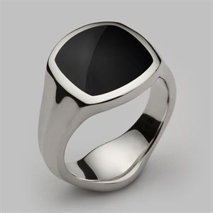 Handcrafted inlaid black onyx signet ring handmade in our London workshops in solid sterling silver, 9ct,14ct & 18ct gold. Unique men's & women's rings by Stephen Einhorn London. Free worldwide shipping - cheap mens jewelry online, mens diamond jewelry, cheap mens jewelry online