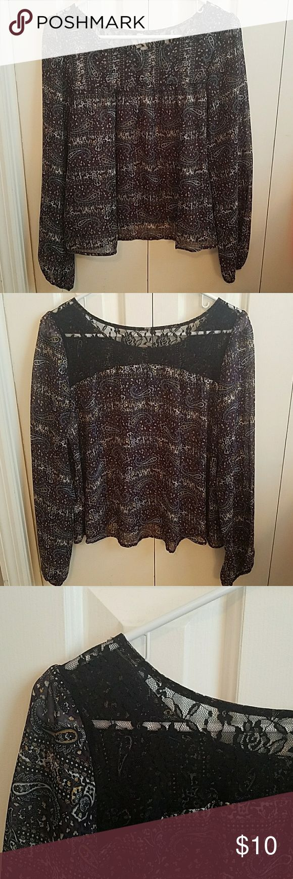 Shear baby doll blouse with lace back Target purple, blue and gold shear flowy baby doll blouse with black lace back, bottom of sleeves are elastic around wrists, size adult small, Merona brand from Target, tag has been cut out to keep from showing through lace back Merona Tops Blouses