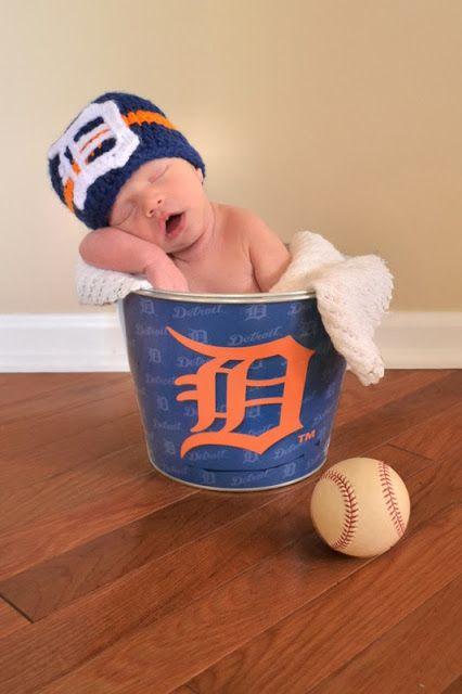 Let's go Detroit Tigers!  Baby baseball newborn photo.