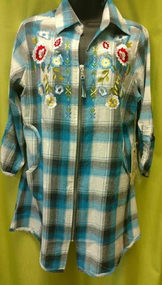 Bleu Bayou - A1711 - Zip Front Blue Plaid Shirt W/floral Embroidery