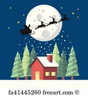 Santa Claus and his reindeer sleigh in silhouette against moon with winter house - Art-Print