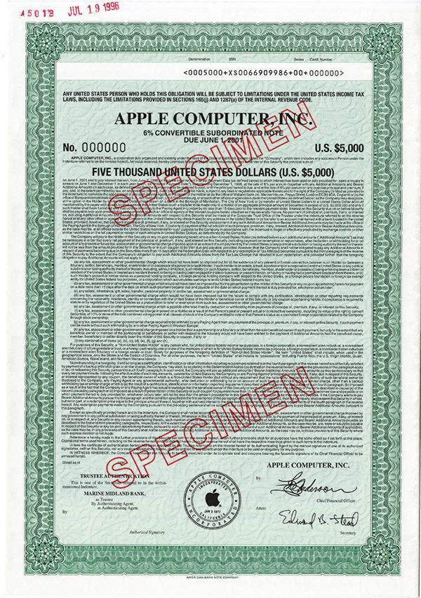 Apple Computer, Inc., 1996 Specimen Bond - Archives International Auctions