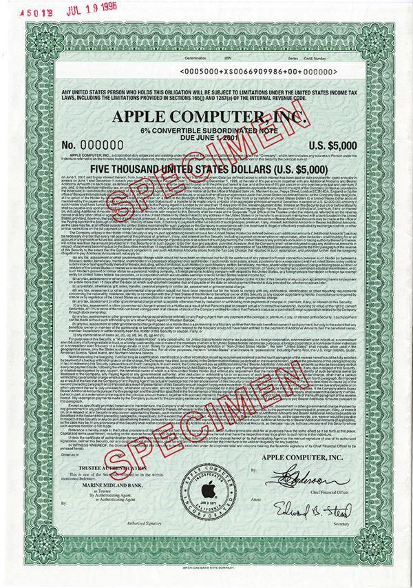 Apple Computer, Inc., 1996 Specimen Bond - Archives International Auctions