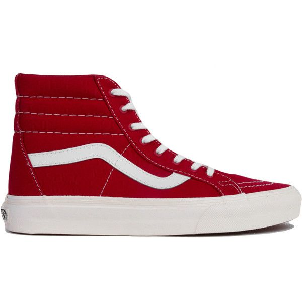 Vans Tango Red 10 oz. Canvas Sk8-Hi Reissue High Top Sneakers ($20) ❤ liked on Polyvore featuring shoes, sneakers, vans, tango red, canvas sneakers, red canvas shoes, red high tops, red trainer and skate shoes