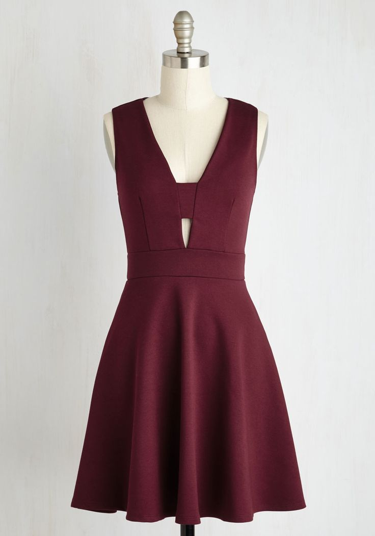 Second Date Delight Dress - Red, Solid, Cutout, Girls Night Out, A-line, Sleeveless, Knit, Better, Mid-length