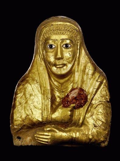 Mummy mask of a man, Roman, 1st Half of the first Century AD, Hawara, tempera painting on canvas, plaster,