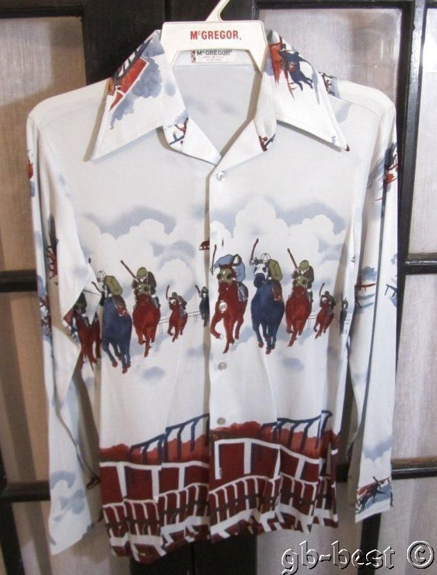 Vintage c 1960/70s McGregor Shirt JOCKEY Horse Racing MOD USA