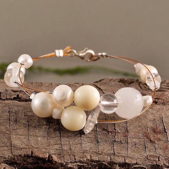 White pearl bracelet tagua bangle agate by ColorLatinoJewelry