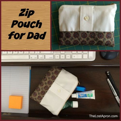 Make a Zip Pouch for Dad.  This simple zip pouch is made from a men's shirt and tie. The Lost Apron