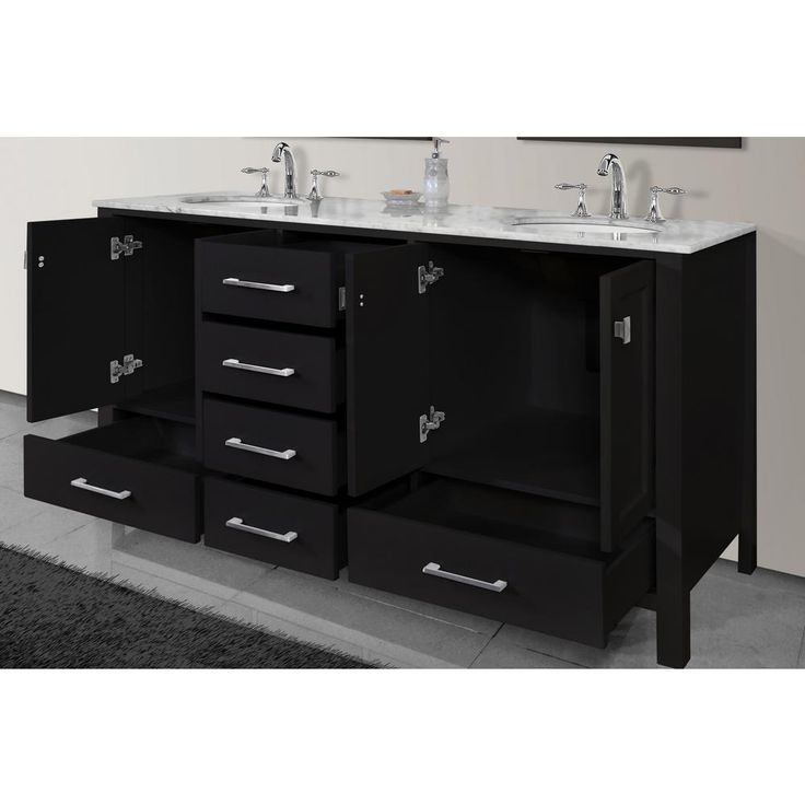 stufurhome Malibu 72 in. W x 22 in. D Vanity in Espresso with Marble Vanity Top in Carrara White-GM-6412E-72-CR - The Home Depot