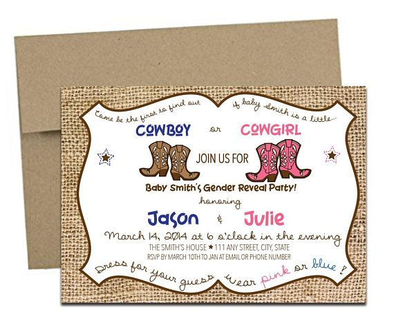 Cowboy or Cowgirl Gender Reveal Invitation with Envelopes. Click through to find matching games, favors, thank you cards, inserts, decor, and more.  Or shop our 1000+ designs for all of life's journeys. Weddings, birthdays, new babies, anniversaries, and more. Only at Aesthetic Journeys