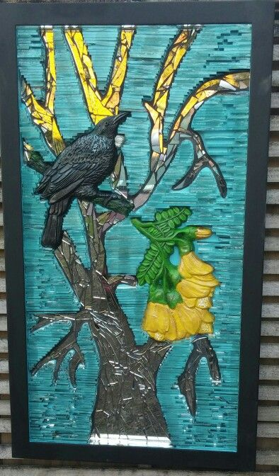 NZ Tui with the native Kowhai flower