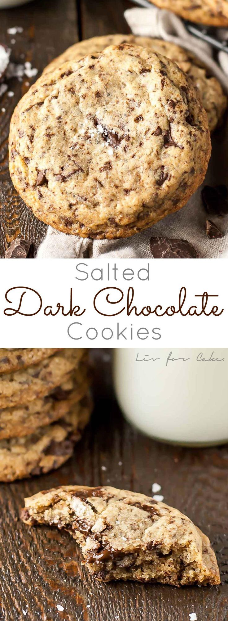 Your favourite childhood cookies all grown up. Dark chocolate chunk cookies with a touch of sea salt. | livforcake.com