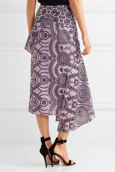 Topshop Unique - Cleary Asymmetric Broderie Anglaise Cotton Midi Skirt - Lilac - UK10