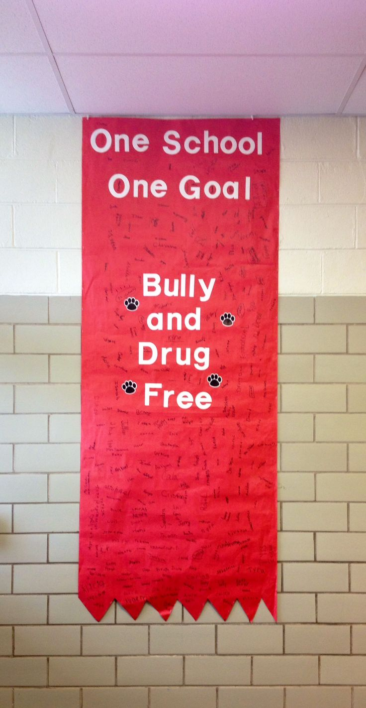 Red Ribbon Week! All of the students and teachers signed the pledge banner for a bully AND drug free school