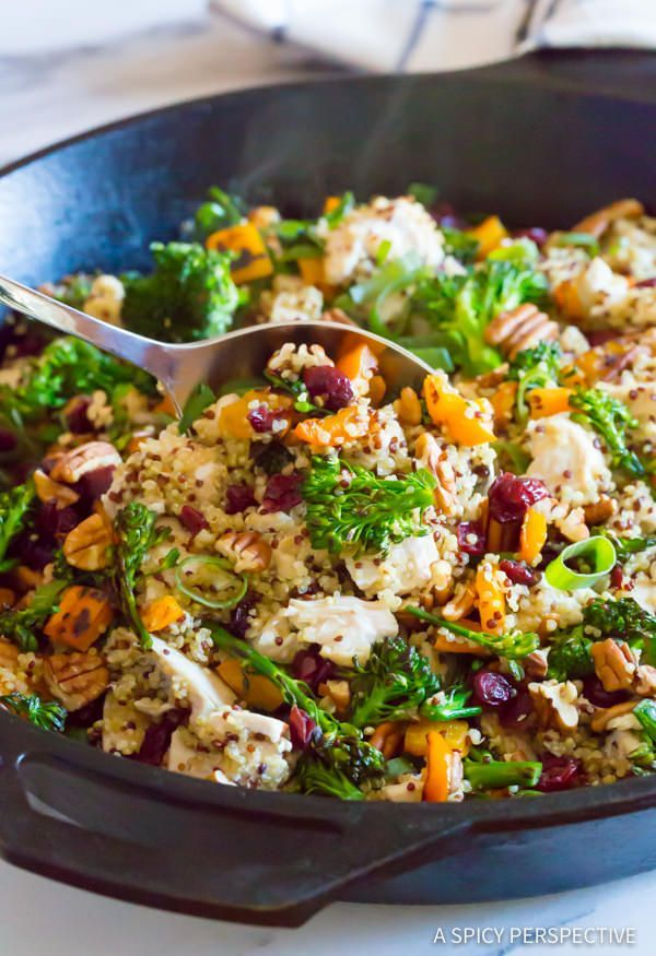 Love this Healthy One-Pot Chicken Broccoli Quinoa Skillet Recipe | http://ASpicyPerspective.com