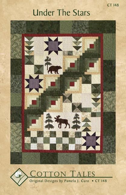 This is Cotton Tails Under the Stars Quilt Pattern. The design is by Pamela J. Curo. The pattern number is CT148. This pattern includes a variety of blocks including Nine Patch, Flying Geese, Saw Tooth Star, Hour Glass, Paper Pieced Log Cabin, and applique. It has both in inner