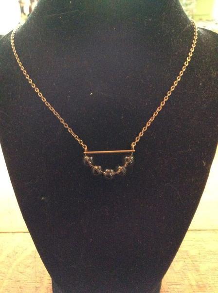 Necklace - Short Strand Antique Brass Necklace