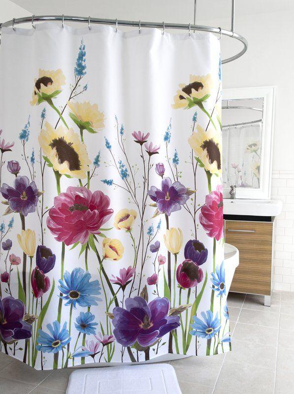 "Wild White Daisy Flower Bouquet Bathroom Fabric Shower Curtain With Hooks 71/"""