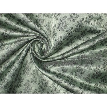 "Pure Silk Brocade Fabric Green and Black colour 44"""
