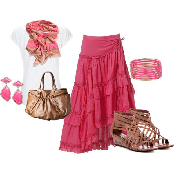kinda like, not the sandals or the jewelery, but the skirt color is pretty and the scarf idea is nice