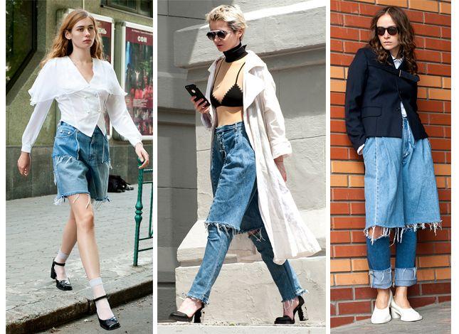 Сложноскроенные джинсы Ksenia Schnaider похожи одновременно на классические брюки с высокой посадкой, шорты и юбку.