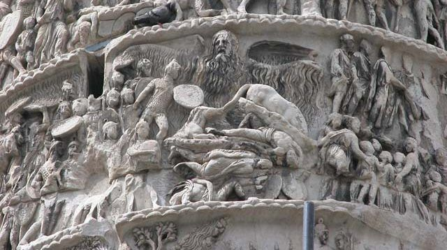 """Reliéf """"zázračného dažďa"""", stĺp Marca Aurelia, Rím"""