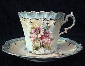 R.S. Prussia Fine Porcelain Teacup and Saucer