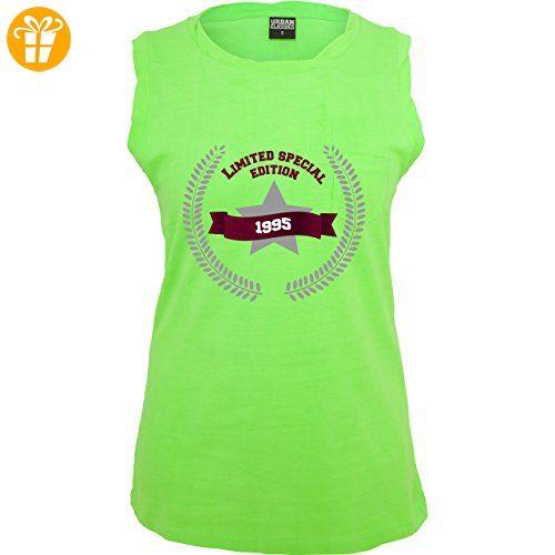 Geburtstag - 1995 Limited Edition - XS - Neon Grün - TB702 - ärmelloses Damen T-Shirt mit Brusttasche (*Partner-Link)
