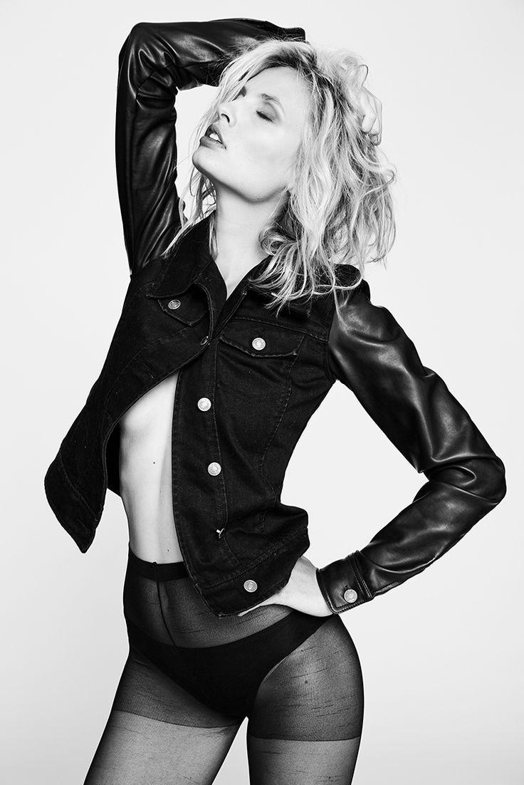 Hope Floats - Womens VIPARO Lookbook - Black Leather Sleeves Denim Jacket