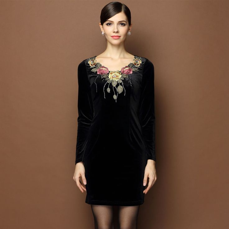 Noble Flowers Embroidery Velvet V Neck Dress - Black - Qipao - Cheongsam - Women