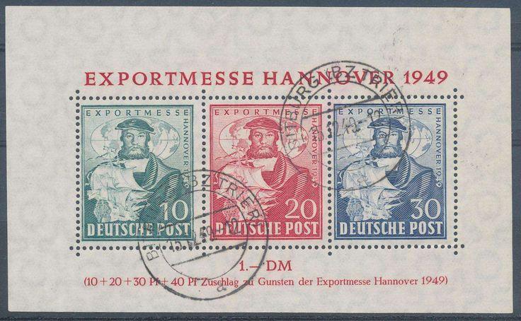 Germany, Bizone, Bizone 1949, Exportmesse-Block, gestempelt Pracht (gestempelt, Mi.-Nr.Bl.1a, Mi.EUR 350,--). Price Estimate (8/2016): 100 EUR.