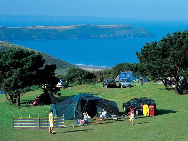 Camping pitch at Woolacombe Bay