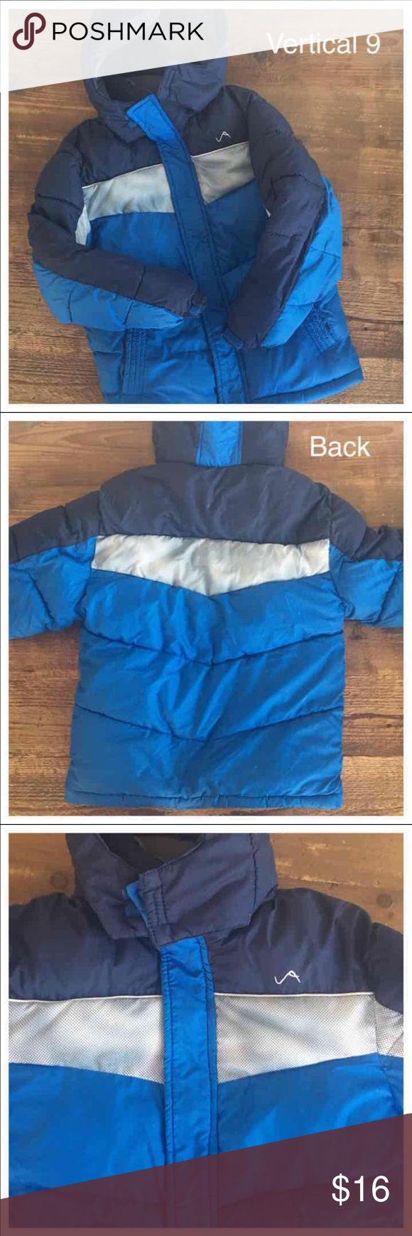 Vertical 9 awesome jacket, coat Gorgeous colbalt blue and silver boy's winter coat in excellent condition. This gorgeous coat was only wore one time and was $40 new!   SIZE 6-7  SAVE MORE NOW AND BUNDLE! vertical 9 Jackets & Coats Puffers