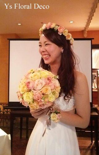 hk00294 春色の花冠&リストレット&ブーケ ys floral deco  @ホテルオークラ東京ベイ白いウェディングドレスにあわせて...