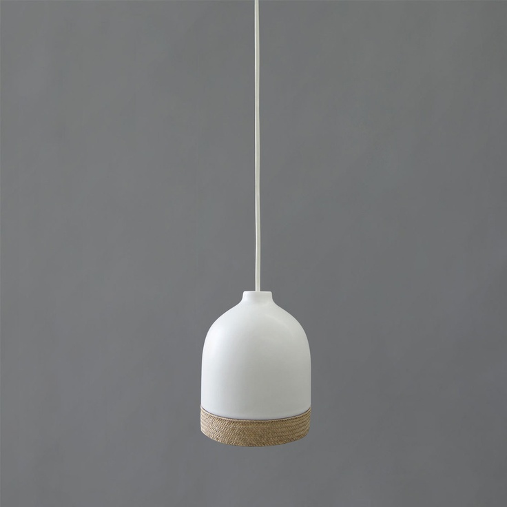 Tao Ceramic and Handwoven Rush Pendant Light