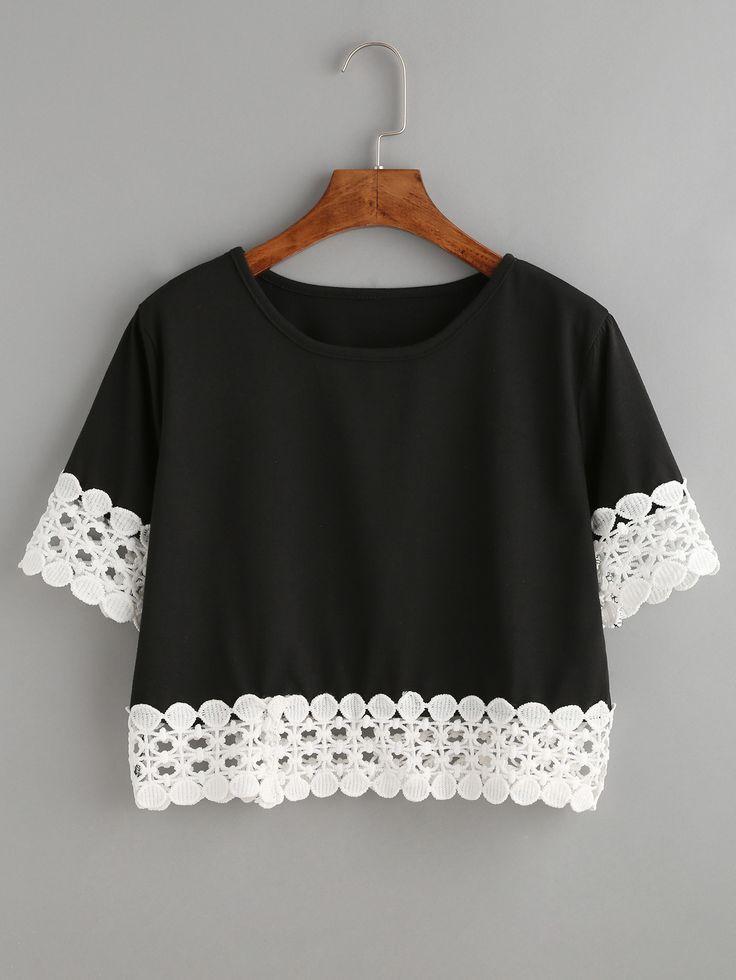 #AdoreWe #ROMWE T-shirts - Designer ROMWE Black Contrast Crochet Trim Crop T-shirt - AdoreWe.com