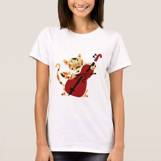 Funny #CalicoCat Playing #Cello Art Cartoon T-Shirt