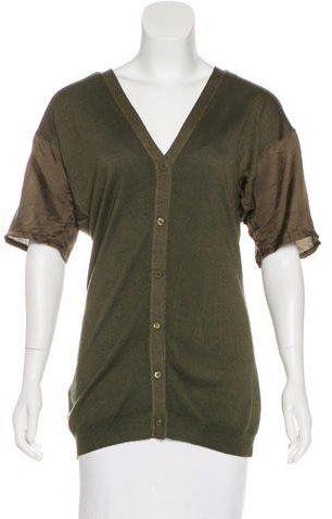 Prada Wool & Silk Short Sleeve Cardigan