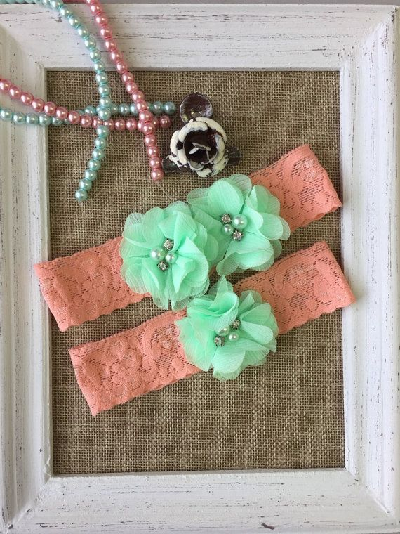 Wedding Garter Set Coral And Mint Lace Toss Bride