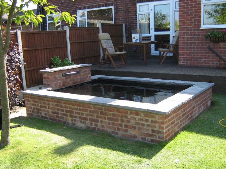 Brick built pond google search garden pinterest for Elevated koi pond