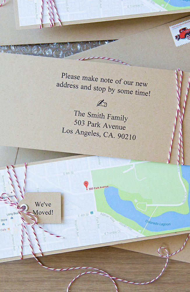 Let your friends and family know about your big move with cute DIY  postcard announcements. We love this creative map idea from Something Turquoise. #fiskars #diy #crafts